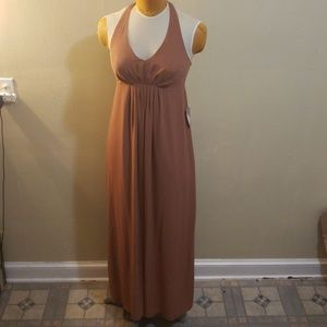 Bronze Dark Camel Halter Chifon Dress